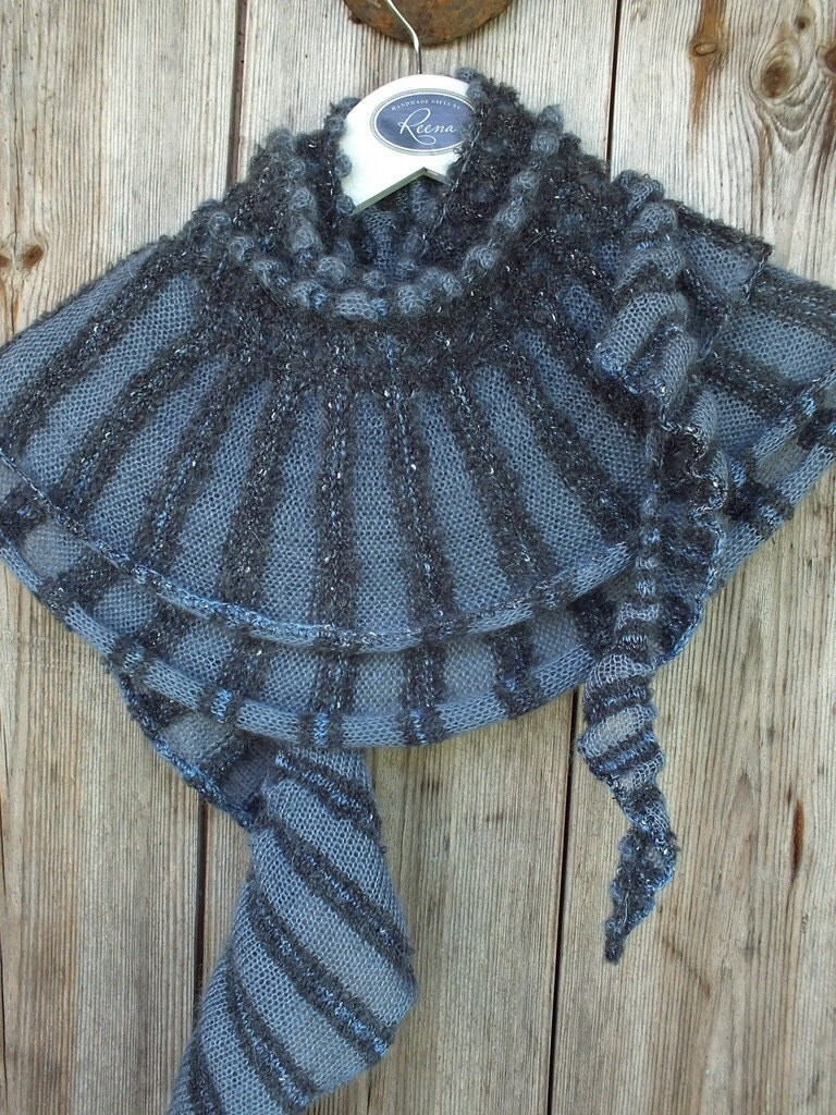 Knitting Machine Scarf Pattern : Grey Knitted Scarf Grey Machine Knit Scarf Knitted Warm