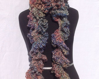 Curly Boa Scarf inRust, Teal, Purple, Brown Boa Scarf