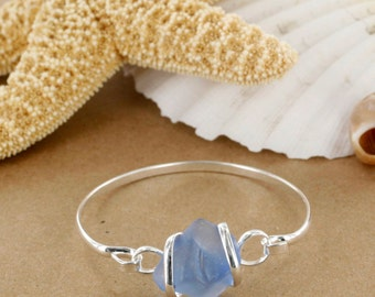Light Cobalt Sea Glass Bracelet