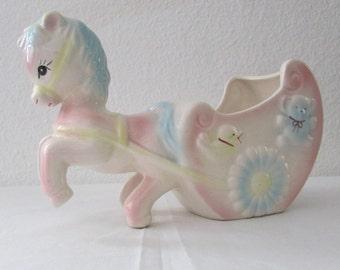 15-1123 Ceramic Nursery Planter / Pony And Cart Baby Planter / Pink And Blue Nursery Decor / Baby Planter / Baby's Room / American Vintage