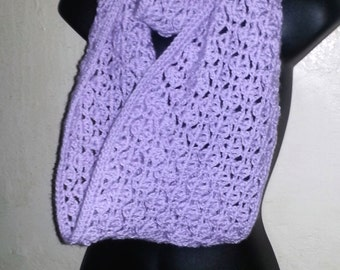 HANDMADE CROCHET Lavender Infinity Scarf Super Soft Crow's Foot Style