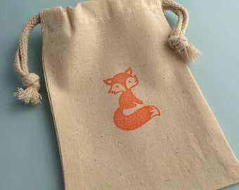 Fox Favor Bag: Woodland Theme Fox Design Drawstring Muslin Bags, Fox Party Bag, Woodland Party Supplies