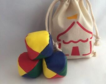 Carnival Juggling Balls in Reusable Circus Bag, Circus Party Favors, Circus Tent Muslin Drawstring Bag