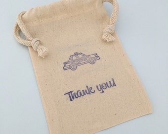 Police Favor Bag with Police Car Design, Emergency Services Muslin Favor Bag, Police Party Supplies