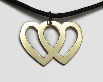 Entwined Hearts Pendant Necklace in Brass or Copper on Black Cord Choker - Two hearts linked together in one love