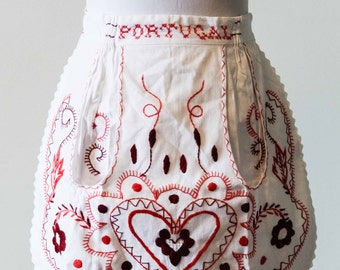 Vintage Portugal Apron | Red | Purple | Pink | Heart | Single Pocket | Embroidered