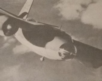 Vintage Airplane Photograph | Black and White Photograph | 1940s Aerial Photograph of Flying Plane | Aviation History |  Airplane History