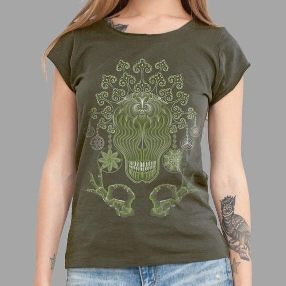 Ayahuasca Healing Olive Women's T-shirt for Yoga Cotton