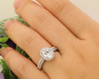20 carat Halo Wedding Ring Set Oval Cut Ring Halo