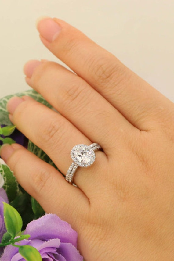 Halo Wedding Ring Set Cubic Zirconia CZ Sterling Silver 15ct