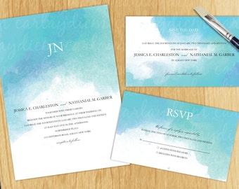 Watercolor Digital Printable Wedding Invitations