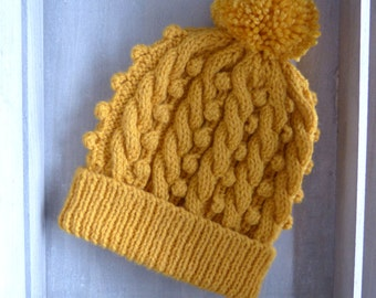 Cable & Bobble Knit Hat with Pom Pom in Mustard