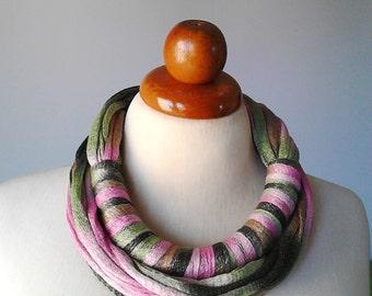 Multi strand necklace pink statement necklace pink necklace textile necklace textile jewelry fabric necklace fabric jewelry scarf pink scarf