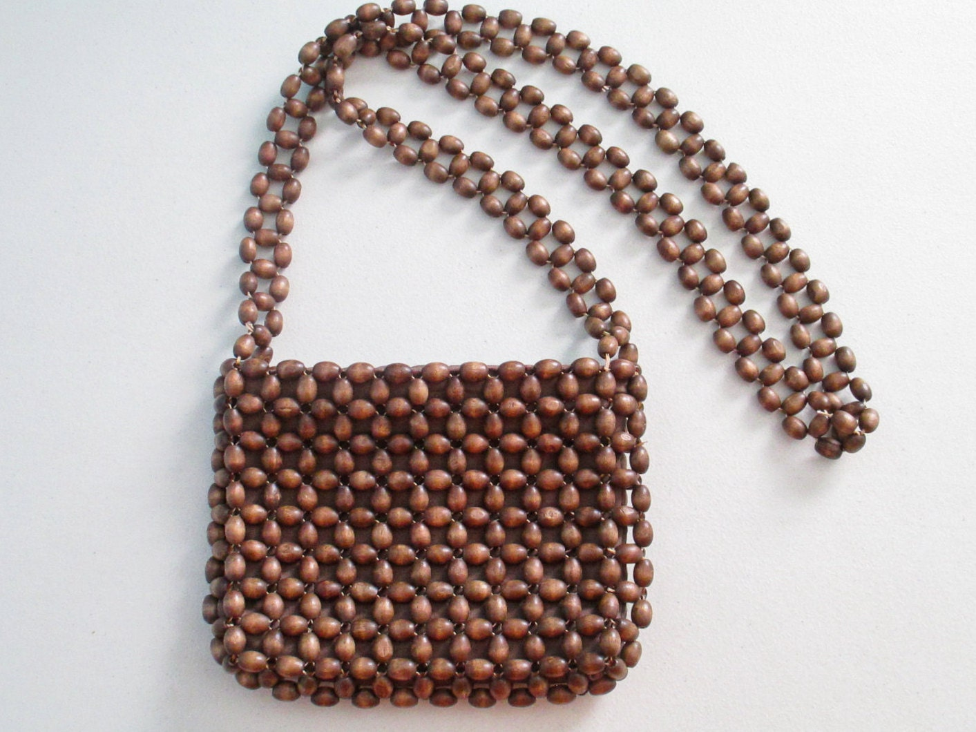 vintage beaded purse brown wooden beaded purse small crossbody