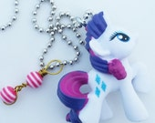 Rarity charm necklace - my littlepony necklace - my little pony party - party favor - planner charm - bookbag charm - keychain