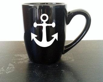 Anchor Mug, Nautical Coffee Mug, Beachy Gifts, Sailor Mug