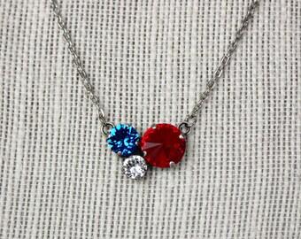Patriotic Pendant Necklace - Siam Red 11mm Rivoli, Capri Blue 8mm, Classic Crystal 6mm in Antique Silver Setting