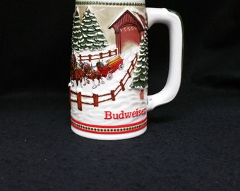 "Budweiser Holiday Stein by Ceramarte / Brazil - Limited Edition - 6.25"" Tall"