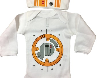 Star Wars Baby BB8 Bodysuit Long Sleeve Set With A Beanie And A Lap Shoulder Fold Snap On Buttons Robot  Costume May The Force Be With You