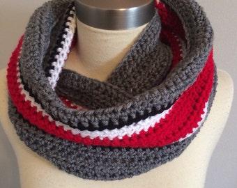 Ohio State Buckeyes Scarf, Handmade Infinity Cowl, Scarlet and Grey Loop, Handmade, Crochet, Made to Order, College Football, Oversized