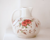 1950s Japanese Ironstone Pitcher - Nasco Springtime - Country Chic Vase - Free Shipping Within the USA