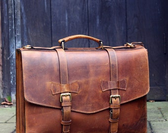 Personalised Genuine Leather Mens Briefcase Laptop Business Bag