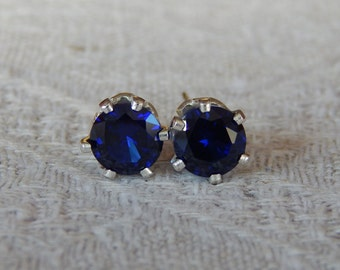 Sapphire 6mm Studs, Blue Sapphire Earrings, Sapphire Posts, Wedding Jewelry, September Birthstone, Lab Created Blue Sapphire, Sapphire