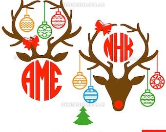 Christmas Deer Antlers Monogram Files - Santa Reindeer Cut Files for Vinyl Cutting Machines, Cricut, Silhouette, Svg, Dxf, Eps, Png, Studio3