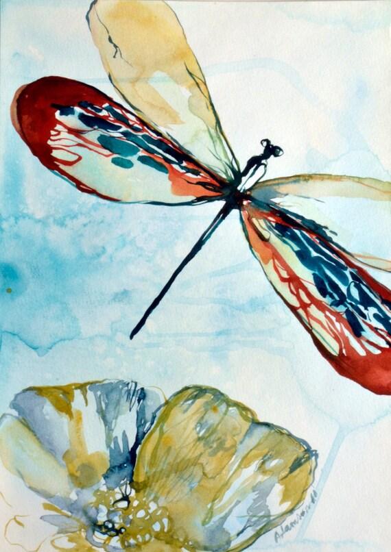 Aquarelle peinture originale de libellule. L'eau contemporain couleur insecte l'art. La nature l'eau couleur mur art pour la maison. Unique cadeau pour anniversaire