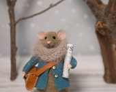 Woolen mouse  , Mouse with  a bag , Winter mouse  , Art Doll , Waldorf animal , Eco-friendly
