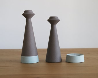 candlestick holders, shabbat candlesticks, ceramic candle holder, teal home decor, light turquoise ceramics and pottery, wedding centerpiece