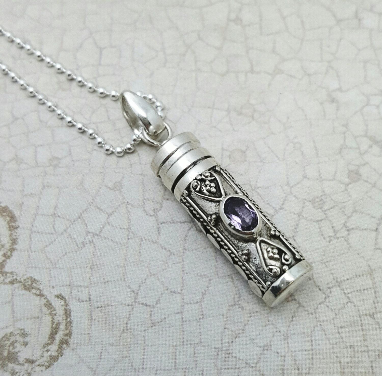 stash necklace amethyst secret box pendant sterling silver