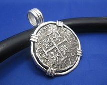 """Sterling Silver Replica Pirate Coin Piece of Eight """"4 Reale"""" Barrel Bail Pendant REDUCED 1.75"""" x 1.25"""""""