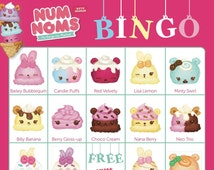 NUM NOMS Bingo Cards — 14 Unique Cards with Extra LARGE calling cards for little hands — Instant Digital Download