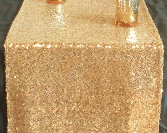 Gold Sequin Table Runner ~ 12 x 108 Inches ~ Wedding Decor ~ Wedding Table Runner ~ Summer Wedding