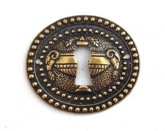 1 Vintage Solid Brass Keyhole cover, escutcheon, keyhole frame. #643G5EK6