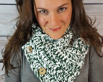Michigan State Scarf, Green and White Cowl Scarf, Boston Harbor Scarf  - Hunter Green and White with Sequins  Fast Shipping!