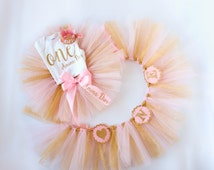 First Birthday Outfit and Banner Set - Pink Gold Tutu Set - High Chair Banner - Girl Smash Cake Shirt, Crown, Tutu, Wall Decor - Smash Cake