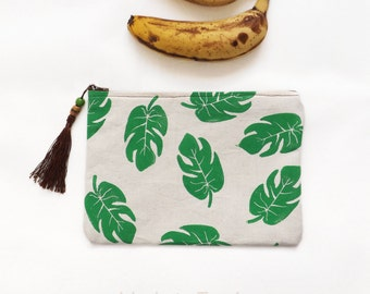 Hand block printed clutch: Palm leaves
