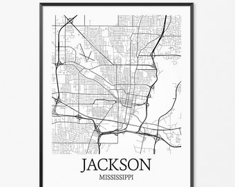 Jackson Map Art Print, Jackson Poster Map of Jackson Decor, Jackson City Map Art, Jackson Gift, Jackson Mississippi Art Poster