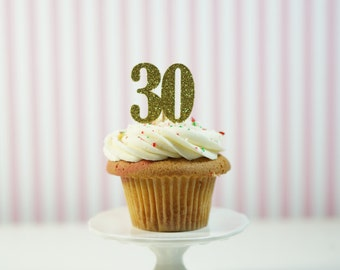 "12 ""30"" Cupcake Toppers / Thirtieth Birthday Cupcake Toppers / ""30"" Birthday Party / ""30"" Toppers"