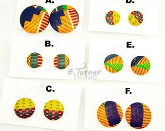 Kente Print Button Earrings Wholesale Bulk - Kente Print Earrings Bundle - Kente Print Variety