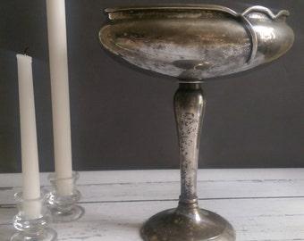 Art Nouveau Silverplate Pedestal Bowl/ Large Pedestal Bowl/ Art Nouveau Bowl/ Rustic Silver Bowl/ Pedestal Bowl with Patina/Fruit Bowl