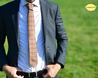 Brown Plaid Tie, Brown and Red Plaid Tie, Narrow Plaid Tie, Wedding Tie