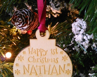 HAPPY 1ST CHRISTMAS Personalised Wooden Baby's Christmas Decoration & Gift Bag