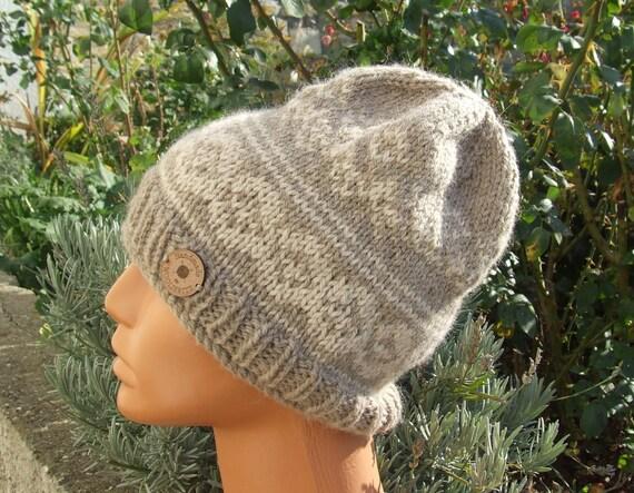 Knit beanie hat Chunky hand knit beanie Fair Isle beanie