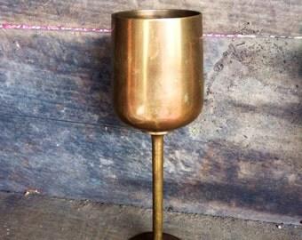 Vintage Brass Wiccan Chalice Goblet