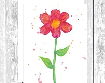 "NOTECARD: Abstract Red Daisy; Red and Yellow Flower 4.25"" x 5.5"" A2 Greeting Card, Gift for Her, Gift for Friend, Gift for Flower Lover"
