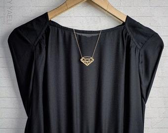 Geometric necklace, gold diamond shaped necklace, diamond pendant, gift under 50, unique necklace, long necklace, everyday necklace.