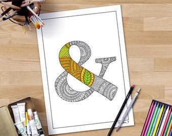 Zentangle alphabet adult coloring page '&' character, floral letters fonts, hand lettering printable letter, downloadable letter monogram